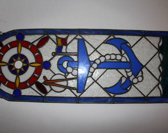 Nautical motif anchor stained glass art
