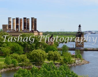 View of Philadelphia Vintage Factory and Delaware River Photography Print or Canvas