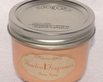 Mango Papaya Soy Wax Candle Wooden Wick