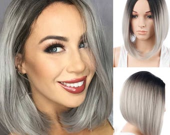 "13"" Ombre Black And Grey Short Bob Cut Synthetic Wig Heat Resistant"