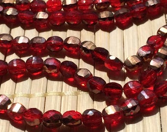 50 pc Czech glass 6 mm flattened fire polished faceted ruby-gold two-toned beads