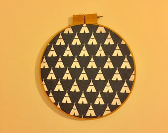Embroidery hoop wall hanging with teepees