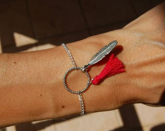 Bracelet feather and red pompon/tassel