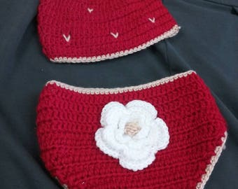 Strawberry diaper cover and hat set