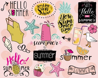 Hello Summer Clipart, vector, beach clipart, pineapple clip art, doodle, summer stickers, beach stickers, vacation clip art, swim clipart