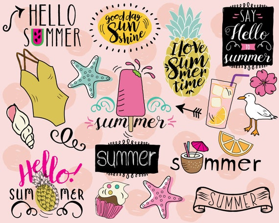 Hello Summer Clipart Vector Beach Pineapple Clip Art Doodle Stickers Vacation Swim From KatyBeeDesign