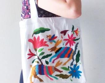 Tenango embroidered tote bag