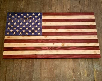 Rustic Wooden American Flag - Red, White and Blue Stain 37 x 20