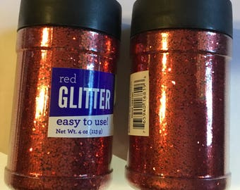 2 containers red loose glitter by horizon 8 ounces wedding holiday party kids classroom