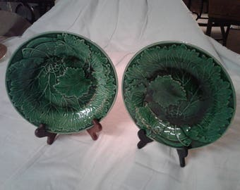 Two Vintage antique German Majolica Plates green leaves