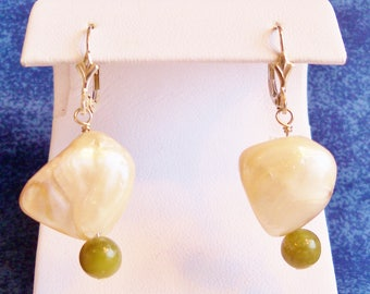 Mother of Pearl Nugget and Green Jade Earrings, Handmade Jewelry, Pearl Earrings, Jade Earrings