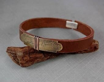 Men's bracelet. Leather brass copper bracelet. Handmade. Unique. One-of-a-kind