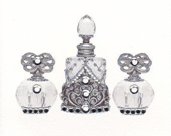 Elegant Silver Perfume Bottles