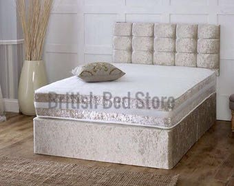 Crushed Velvet Cream Divan Bed With Mattress and Headboard