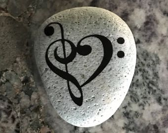 "Natural, Handmade Printed ""I Love Music Note"" Stone. Unique Stone Art Gift."