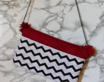 Suede pouch red and geometric pattern