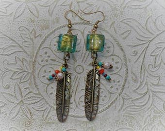 Native American inspired beaded feather earrings