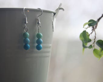 Pastel Blue and Green 3 Shade Bead Drop Earrings