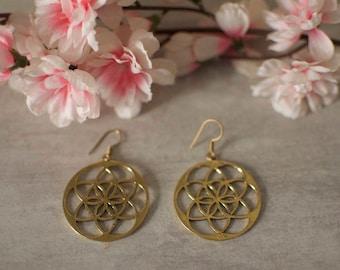 Earnings flower of life brass