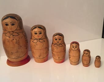 Vintage Matryoshka Babushka 6 Pc, Wooden Dolls, Hand Painted