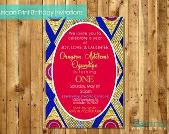 AFRICAN PRINT INVITATION: Royal Birthday/Baby Shower/Graduation