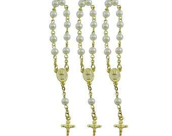 24 Pcs First Holy Communion Favors Mini Rosaries simulated pearl with Gold Plated Accents - JA051G-FI