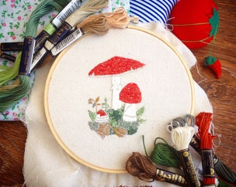 Amanita Muscaria handmade embroidery