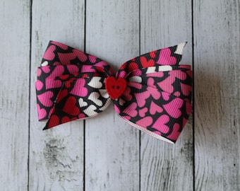 SALE Small Black/Pink Heart Bow