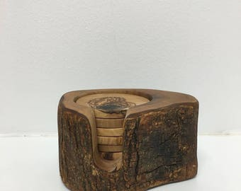 Olive Wood Coaster Set with Rustic Holder