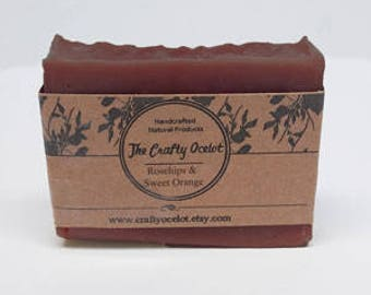 Handcrafted Natural Rosehips & Sweet Orange natural soap, unscented soap, hypoallergenic, sulphate free, scent free soap,  cold process soap