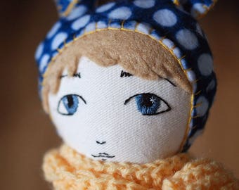 Handmade Hanolky boy cloth doll with emboidered face ooak