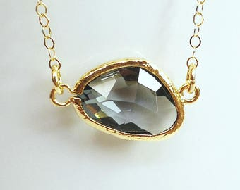 Charcoal Glass Pendant and 14K Gold Filled Chain Necklace