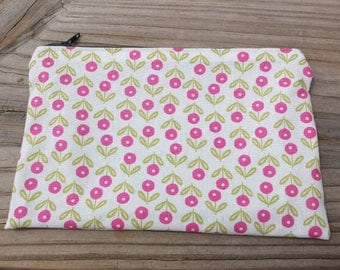 Zip Pouch Pink Floral