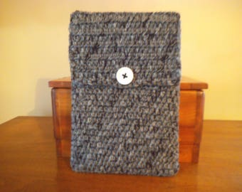 Handmade Crocheted Netbook Laptop Sleeve with Button Black Grey