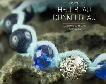 Macrame bracelet in the Shamballa style - light blue/dark blue
