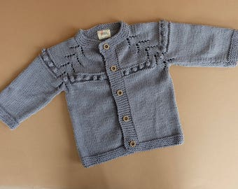 Baby Cardigan in Cotton/Bamboo, Hand Knitted