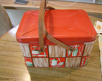 Vintage Metal Decoware Picnic Basket Bisquit Tin