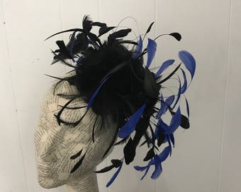 Black & cobalt Blue fascinator Charlotte