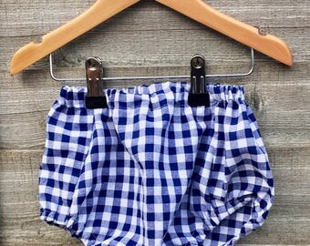 Navy gingham baby bloomers / diaper cover / nappy cover / traditional kids clothing