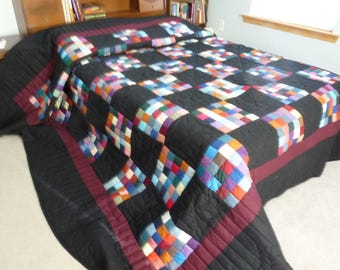 Amish patchwork quilt, hand quilted, multi-color and black