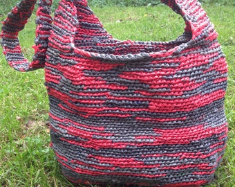 Gray and Coral Crochet Hobo/Beach Bag