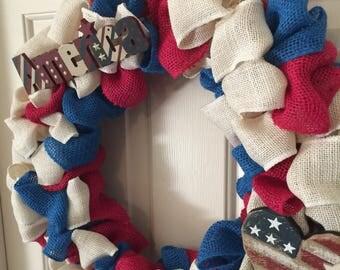 Red, White, and Cream Burlap Patriotic Wreath