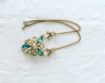 Turquoise and clear cut glass vintage flower necklace
