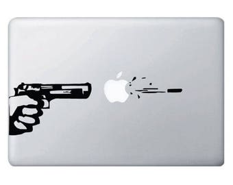 Apple Gun and Bullet Macbook Or Laptop Decal, Macbook Decals, Laptop Stickers, Macbook Pro Stickers, Laptop Decals, Gun Decal, Bullet Decal
