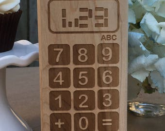 Wooden teether nerdy baby geeky Calculator toy waldorf gift graduation engineer science