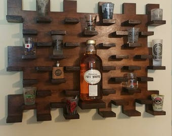 Shot glass display case with custom bottle shelv wall mount