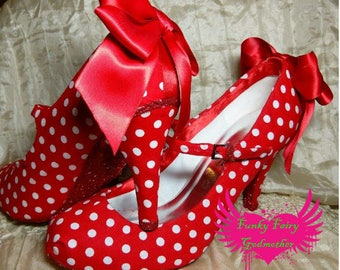 Polka-dotswith bows high heels, rockabilly shoes, vintage style shoes, customised shoes, women's heels, high heels, heeled shoes, red shoes