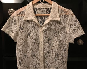 Vintage Collared Lace Blouse