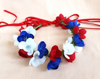 Fourth of July Flower head crown, patriotic halo, red white blue hair accessory, Americana, tie back
