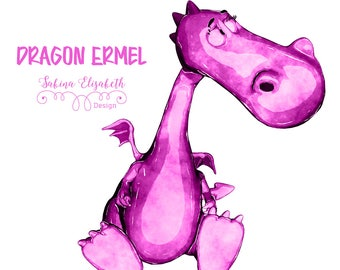 Dragon Ermel 4, pink, Watercolor Clipart, Baby, Child, Fun, Craft